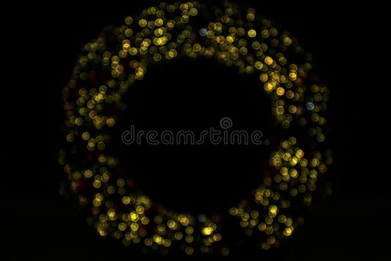 Verwischt, defocused Punkt Kreisbogen für Dekorationshintergrund Bokeh-Lichtfunkeln frohe Weihnachten und guten Rutsch ins Neue J stockfoto