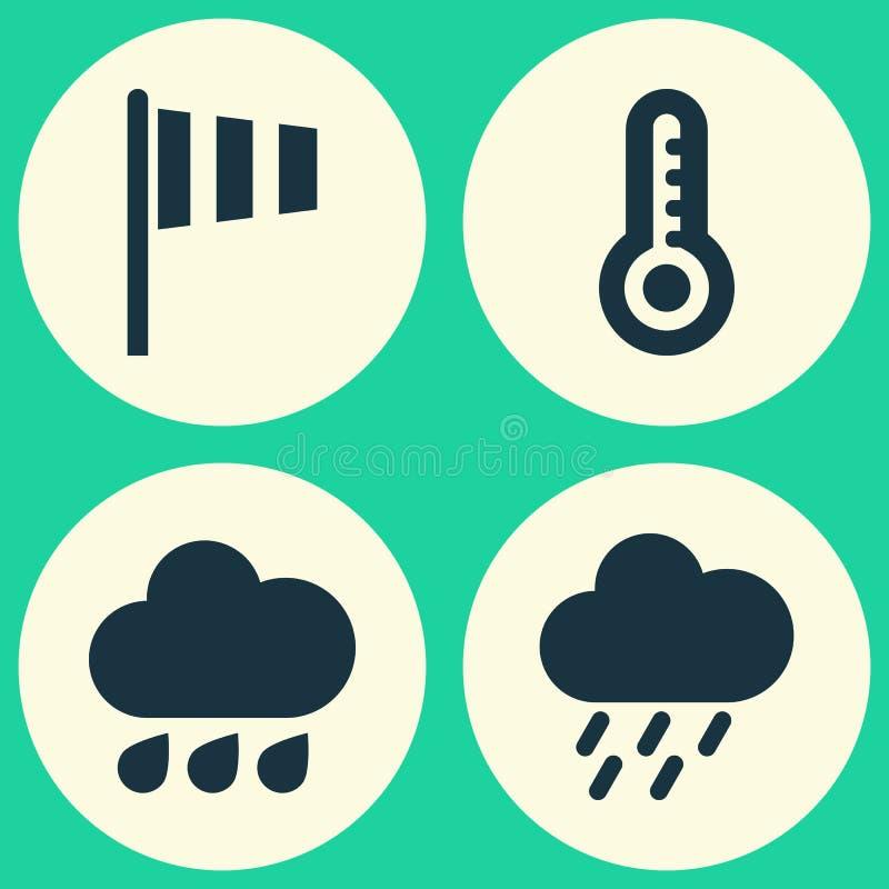 Verwittern Sie die eingestellten Ikonen Sammlung Flagge, Temperatur, Spülung und andere Elemente Schließt auch Symbole wie die Du vektor abbildung