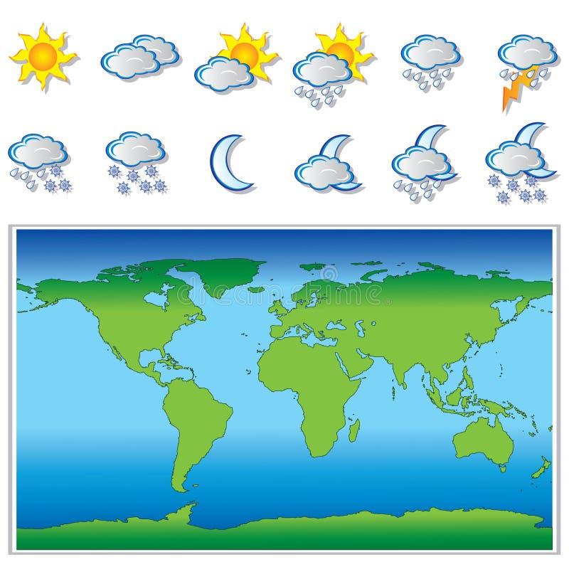 Verwittern Sie Ikonen und Weltkarte vektor abbildung