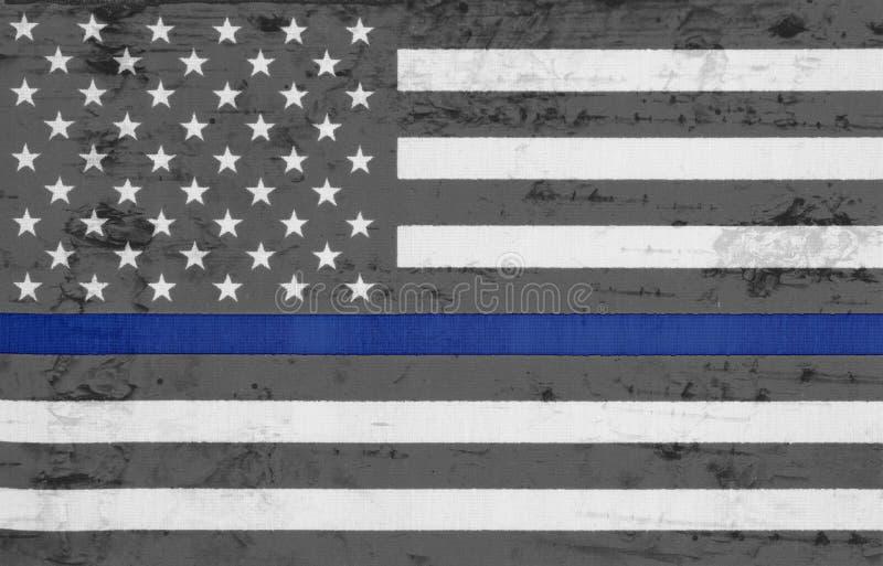 Verwitterte blaue Linie Flagge USA dünn stockfotografie