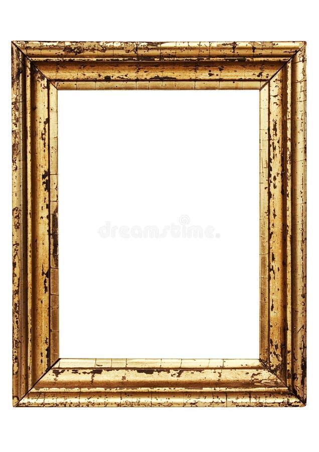 Verwitterter goldener Bilderrahmen mit Pfad lizenzfreie stockbilder