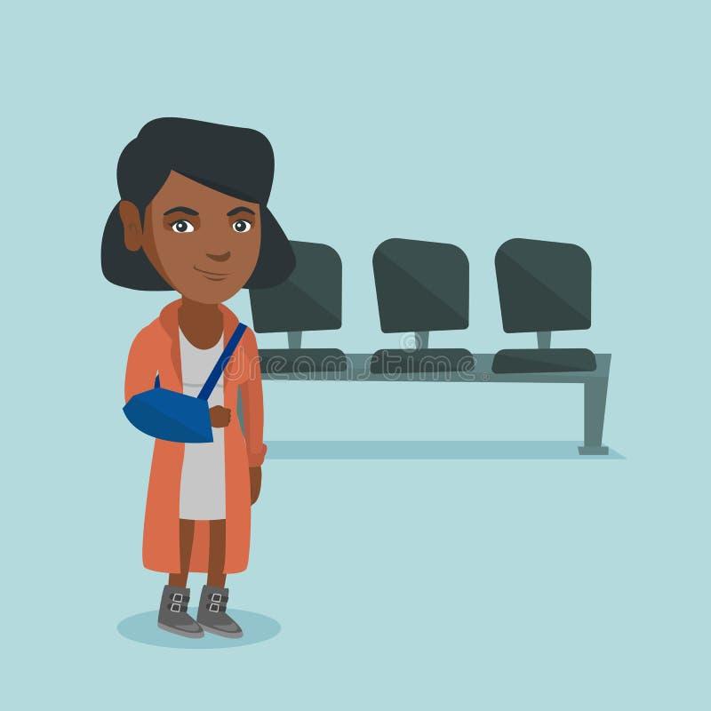Verwonde Afrikaans-Amerikaanse vrouw met gebroken wapen stock illustratie