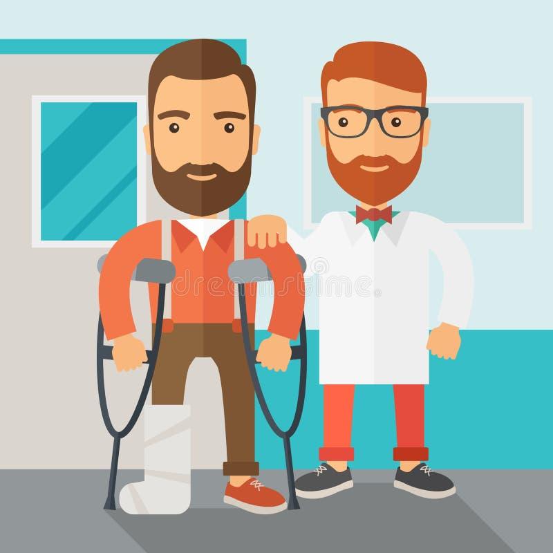 Verwonde mens bijgestaan door een arts stock illustratie