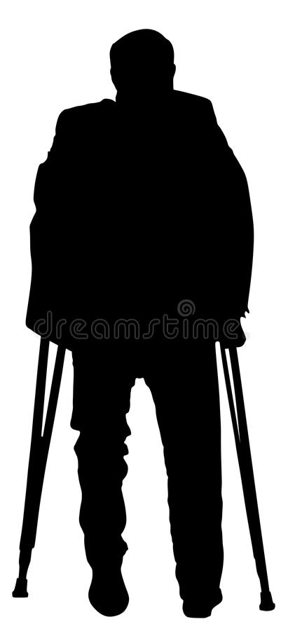 Verwonde mens met steunpilarensilhouet stock illustratie