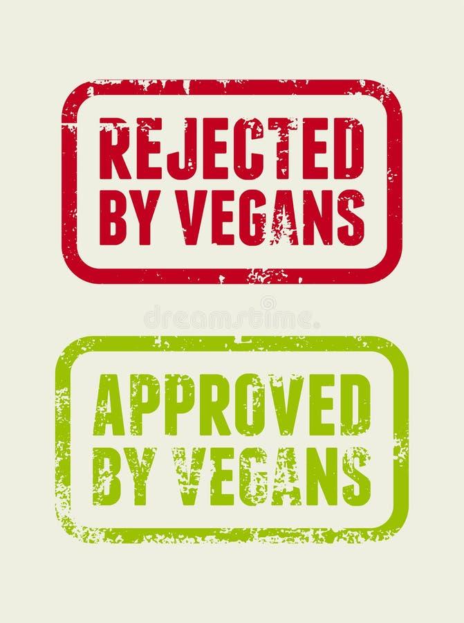 Verworpen door veganisten Goedgekeurd door veganisten Ontwerp van de Grunge het rubberverbinding Retro vectorillustratie vector illustratie