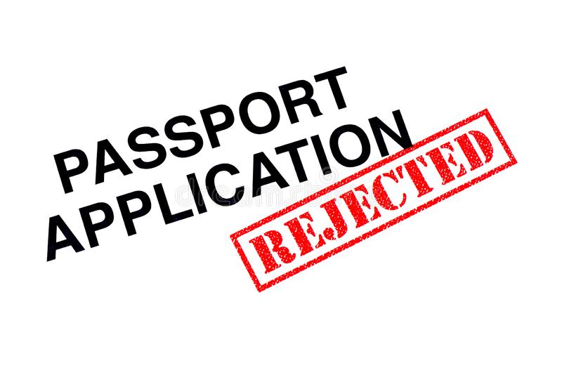 Verworpen paspoorttoepassing stock foto's
