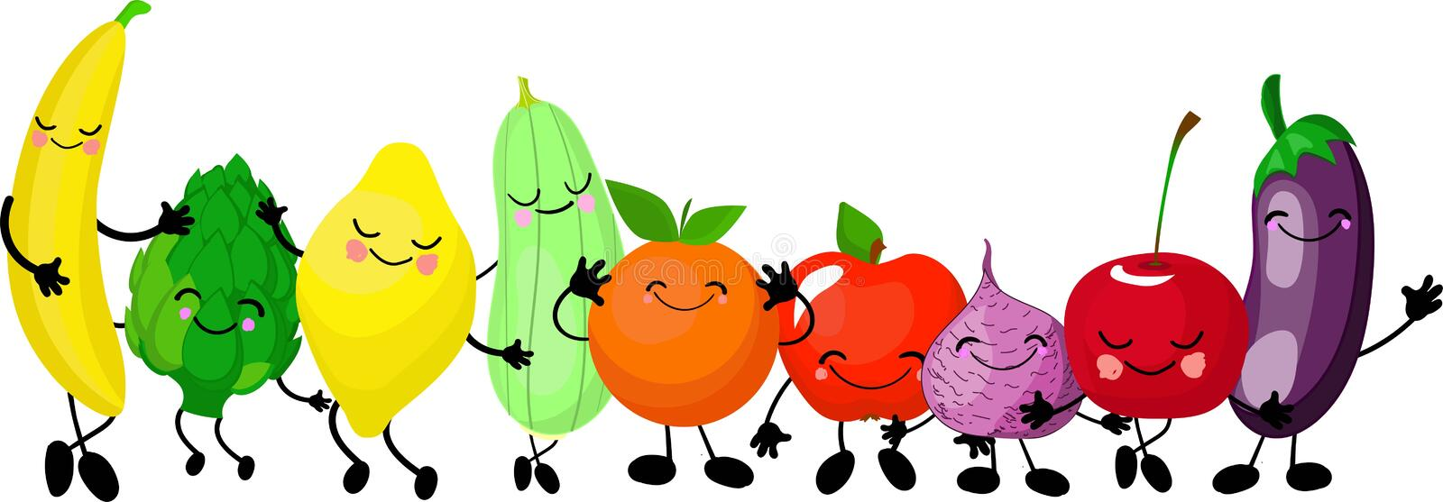 Very adorable fruits and vegetables. Big collection. characters gesturing and waving their hands. Smiling fruits isolated on the royalty free illustration