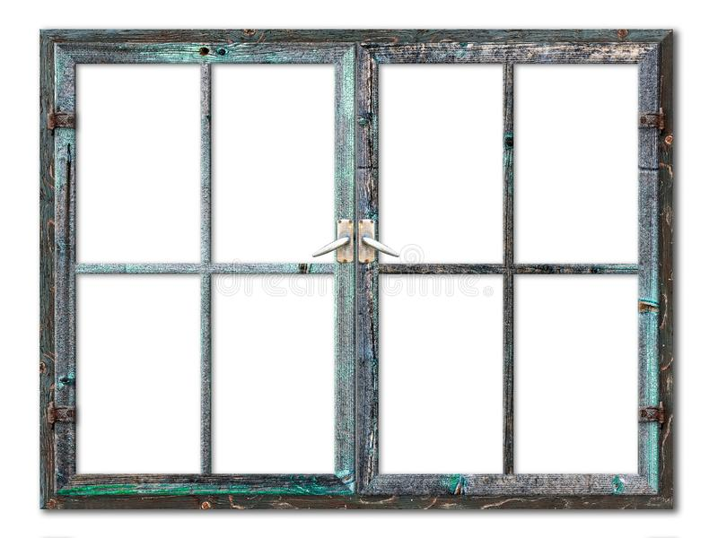 Very aged wooden window frame with cracked paint on it, mounted on a grunge wall stock images