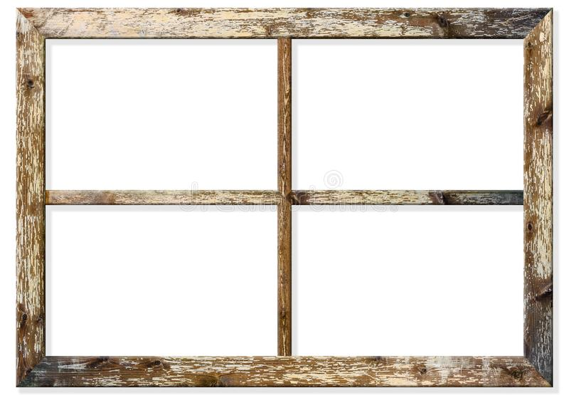 Very aged wooden window frame with cracked paint on it, mounted on a grunge wall royalty free stock photos