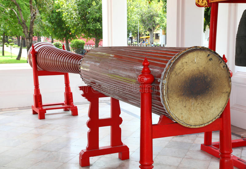 Very ancient drum called Klong Luang drum in Ben. Jamaborpit templ, Thailand stock photography