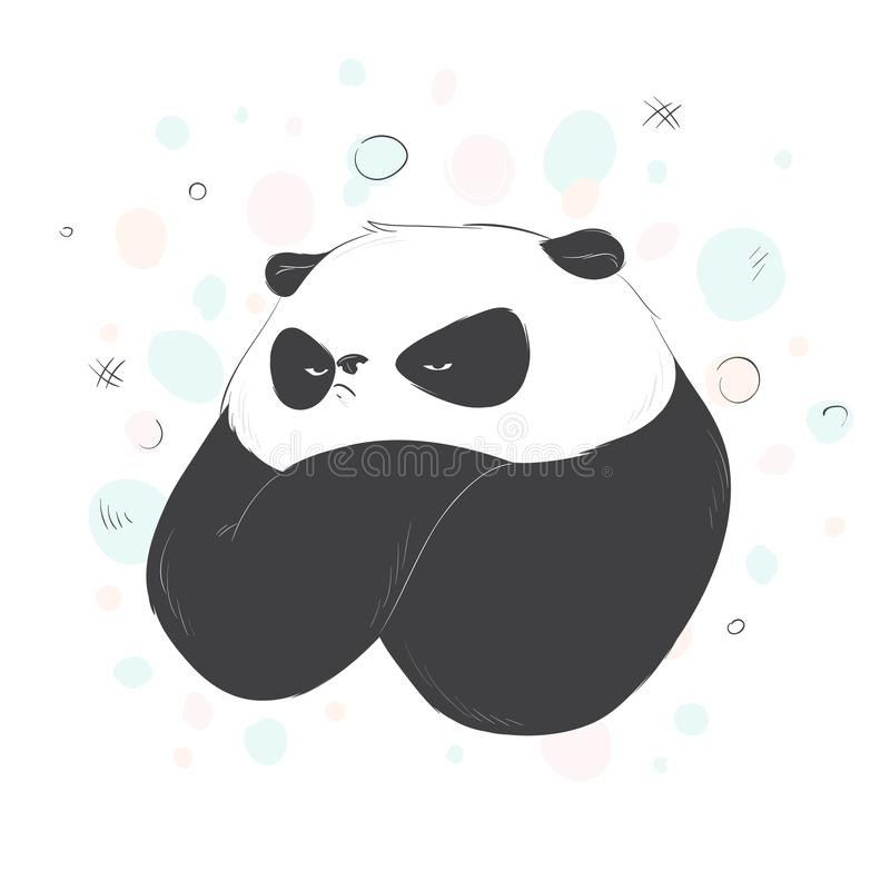 Very angry cute panda. Vector illustration stock illustration
