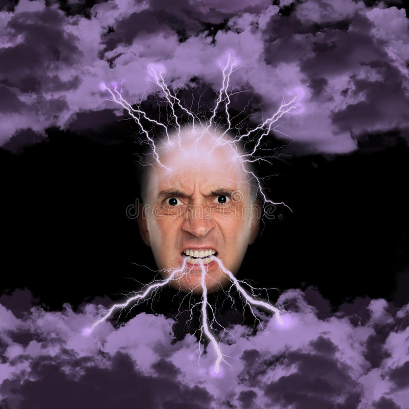 Very angry man spewing lightning. From his mouth royalty free stock images