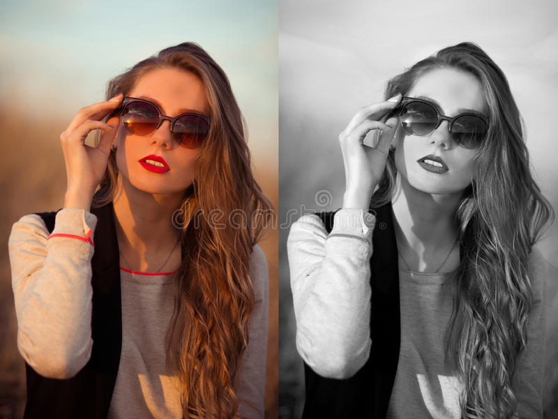 Very awesome, excellent, beautiful, attractive, snorting, stunning, fashionable, glamorous, cheerful, adorable, delightful girl wi stock photos
