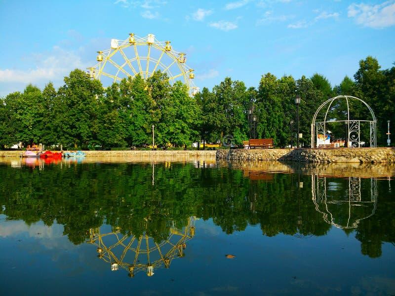Very beautiful children`s park with a Ferris wheel in Togliatti Samara region. Очень красивый детский парк с колесом обозрения в Тольятти Самарская область royalty free stock image