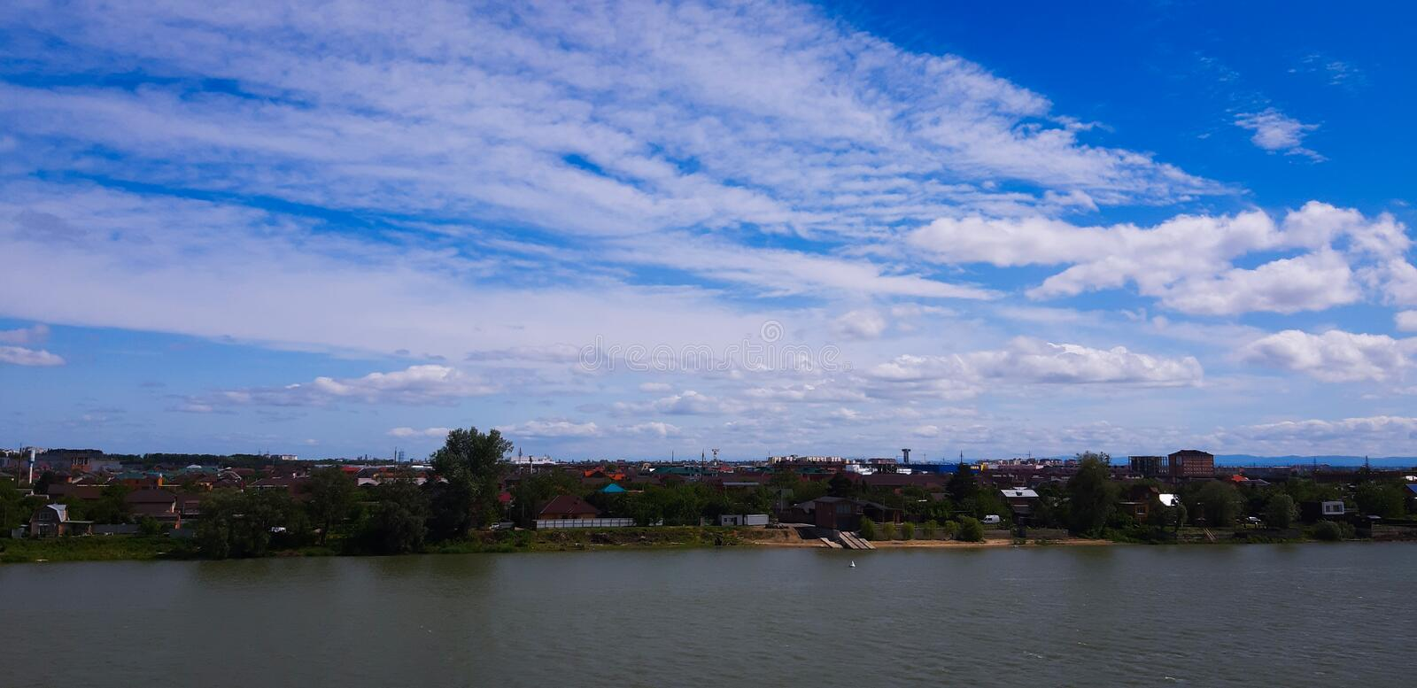Very beautiful and colorful sky over the Kuban river! royalty free stock images