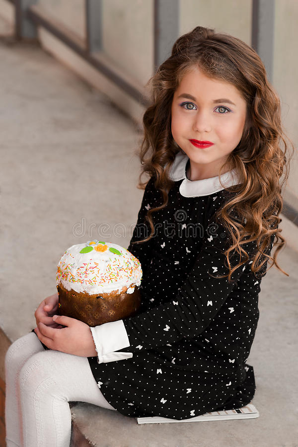 Fashionable portrait of sweet tooth beautiful, attractive, cheerful, stylish girl stock images