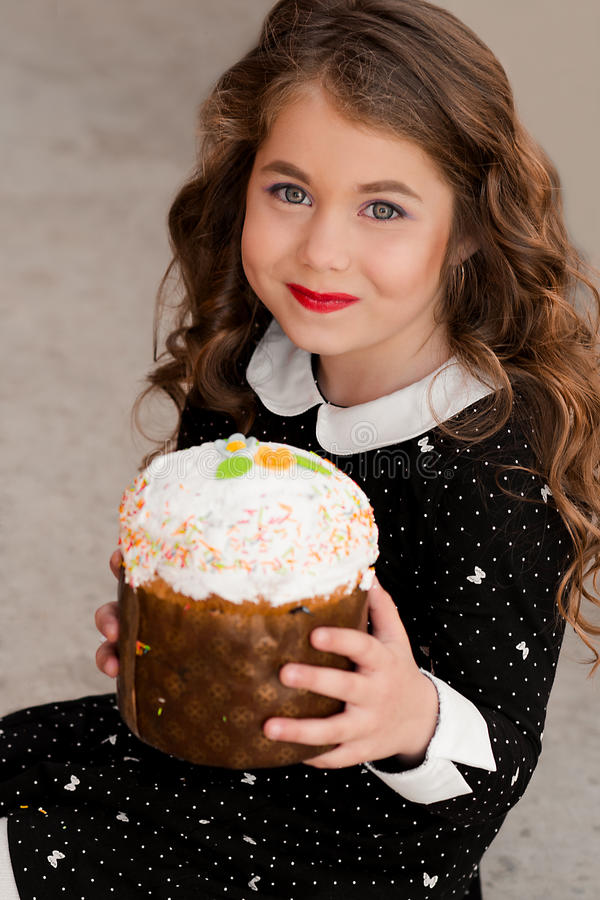 Fashionable portrait of sweet tooth beautiful, attractive, cheerful, stylish girl stock photography