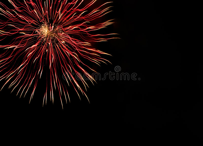 Very beautiful fireworks with free space stock photos