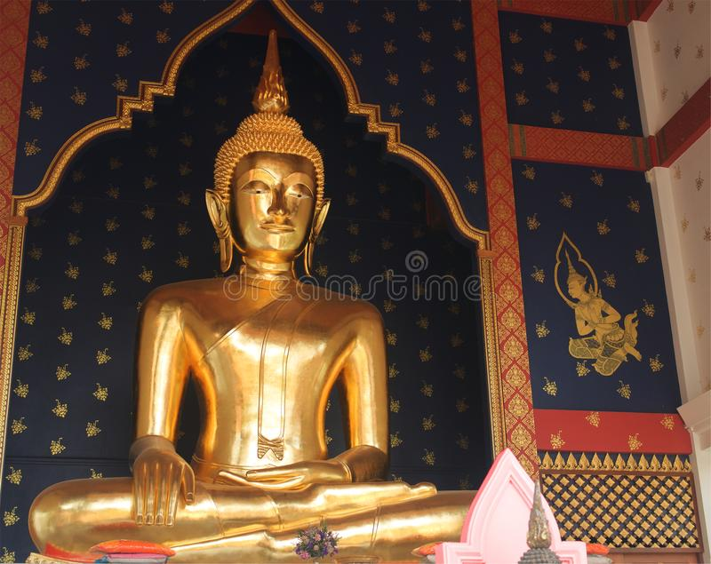 The very beautiful Buddha statue standing in Thai temple royalty free stock images