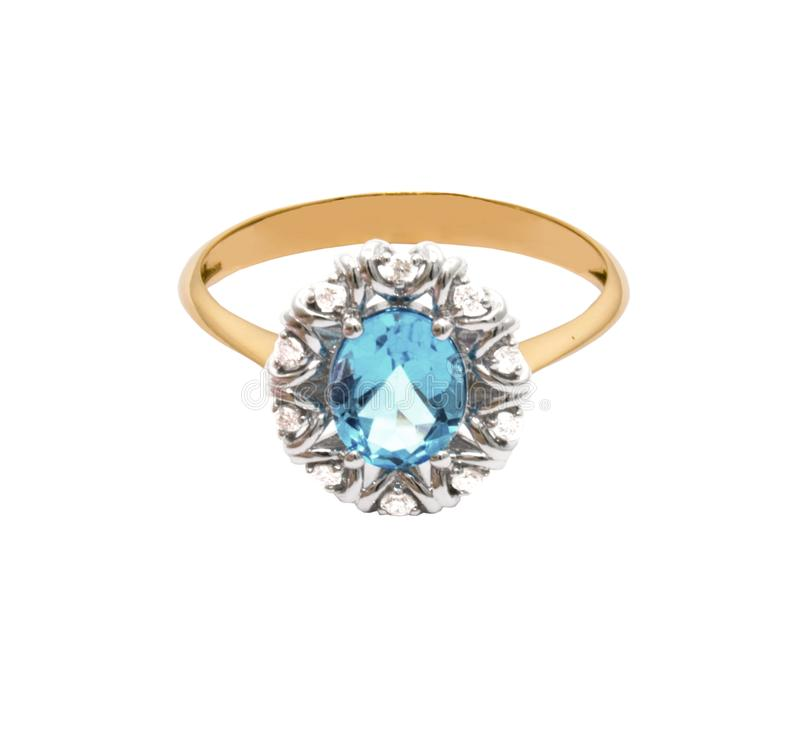 Very beautiful golden ring with topaz and few diamonds royalty free stock photos