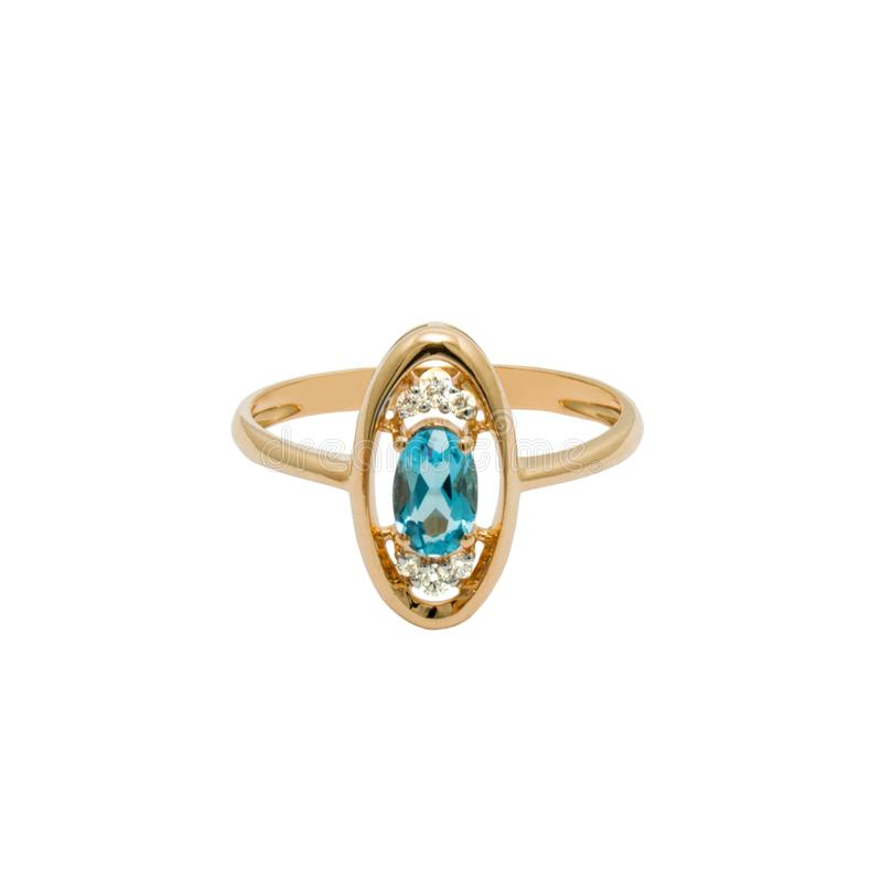 Very beautiful golden ring with topaz and few diamonds stock images