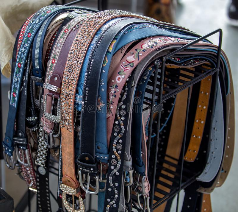 Very beautiful leather belts royalty free stock image