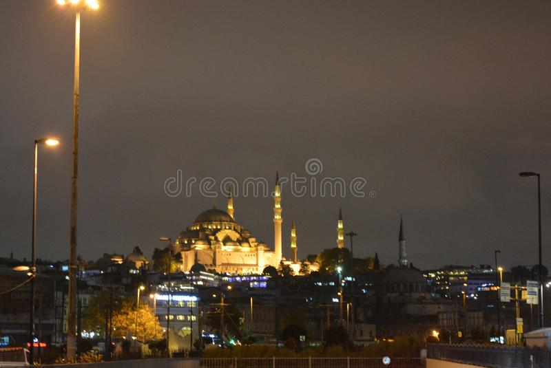 The Süleymaniye Mosque Ottoman imperial mosque, Istanbul Strait of Bosporus royalty free stock photo