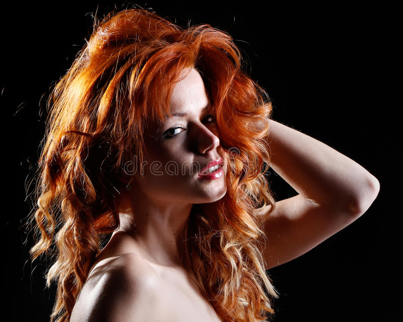 Very Beautiful Portrait Of A Woman With Red Hair Stock Photo