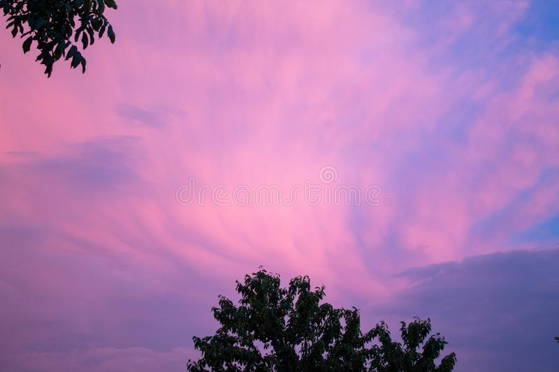Very beautiful sky, colorful. With clouds. There is plenty of space for text. Background. Banner. Copy space stock photos