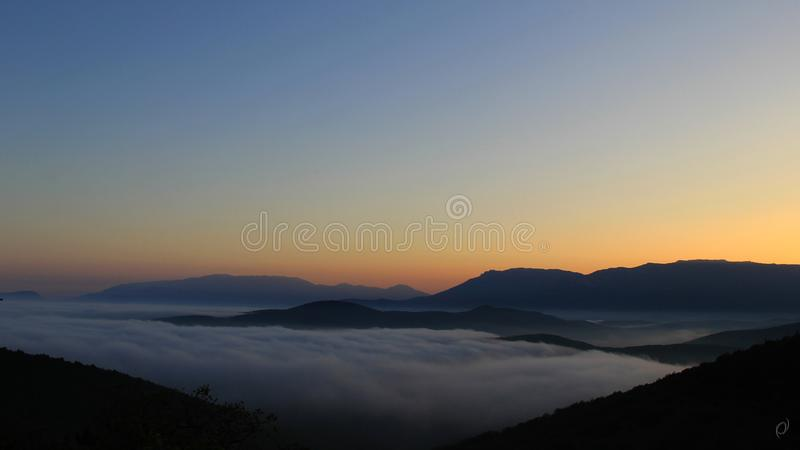 Sunset in the Crimean mountains stock image