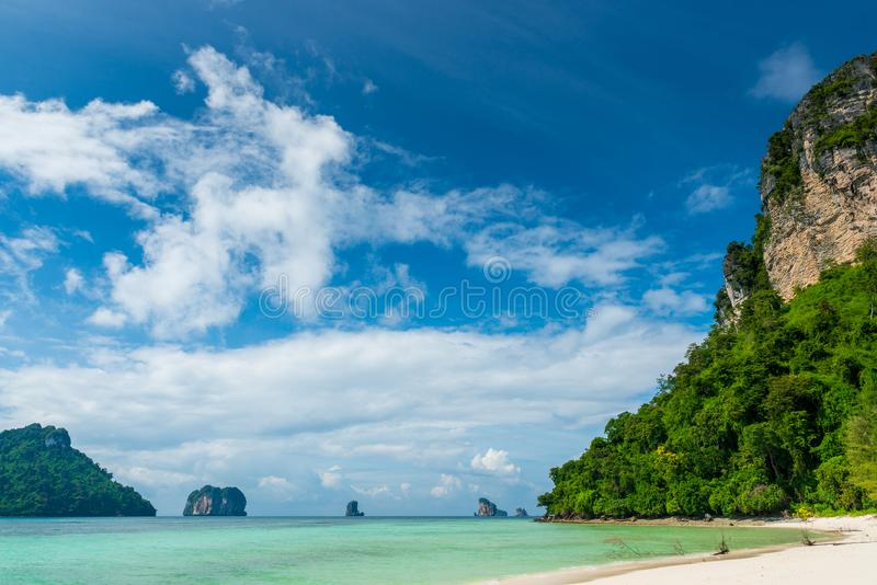 Very beautiful tropical landscape, the sea and cliffs royalty free stock images