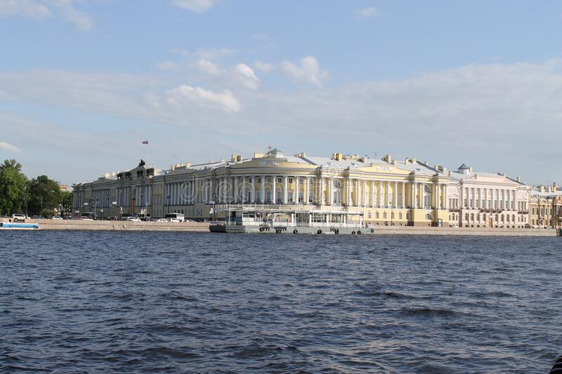 The building of the constitutional court of the Russian Federation in Saint-Petersburg. Very beautiful view from the Neva river to the building of the royalty free stock photos