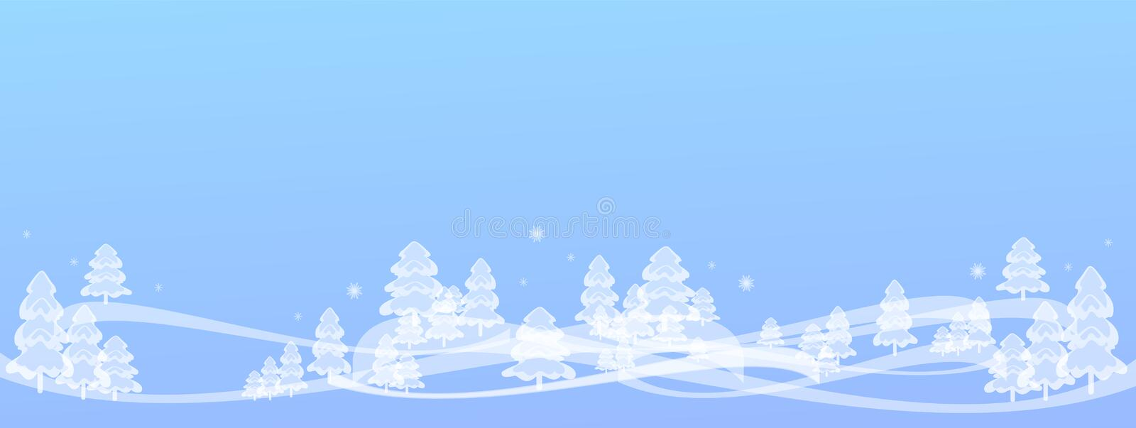 Winter illustration background light blue, snowy fairy forest & snowflakes, light, transparent like ice or glass. Very beautiful winter background, light royalty free illustration