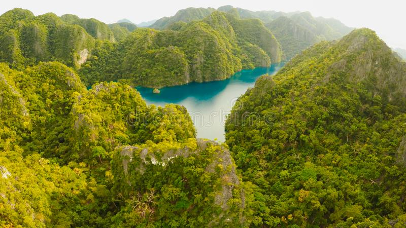 Very beautyful lagoon with boats. Paradise islands in Philippines. Kayangan Lake. royalty free stock image