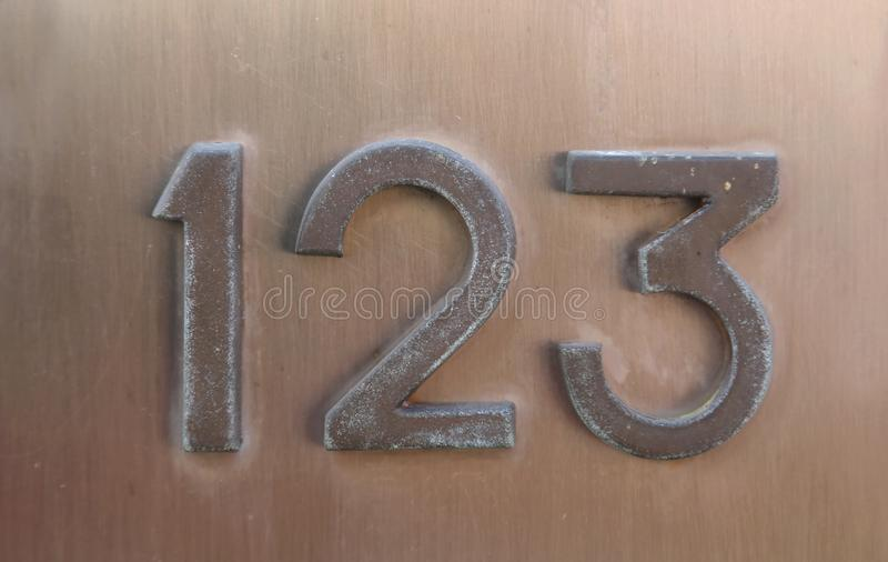 Text with number 123 on the wall stock photo