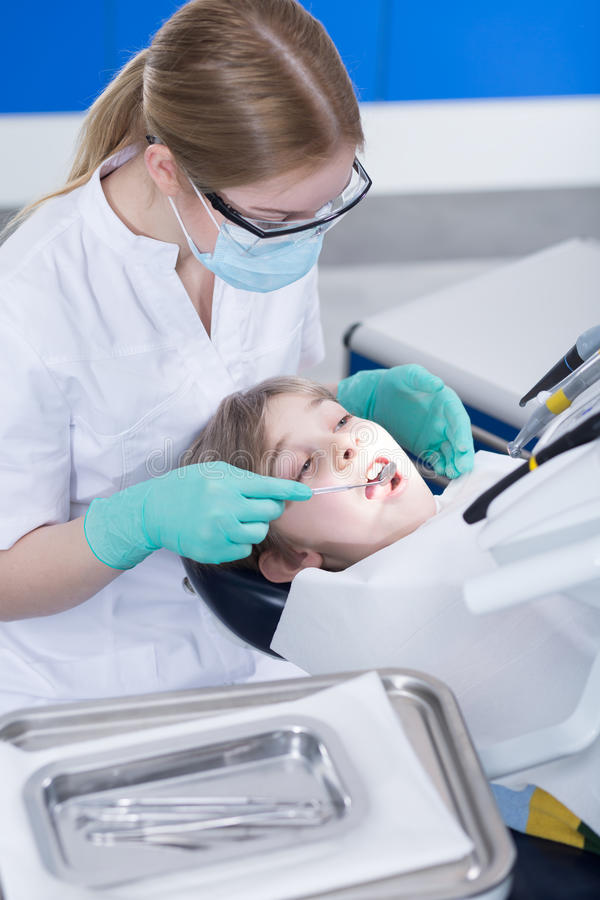Very brave at dentist's office royalty free stock image