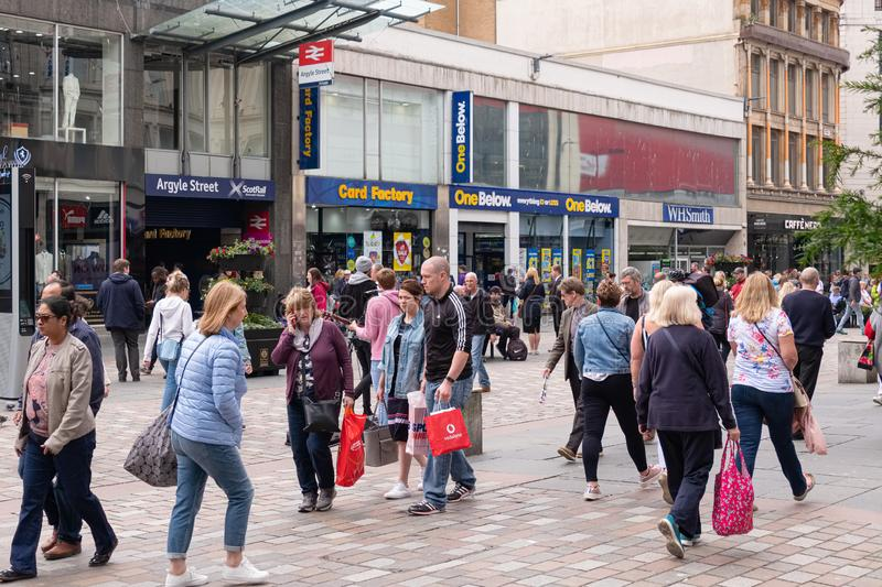 A very busy Argyle Street in Glasgows city centre on a Saturday afternoon royalty free stock photography