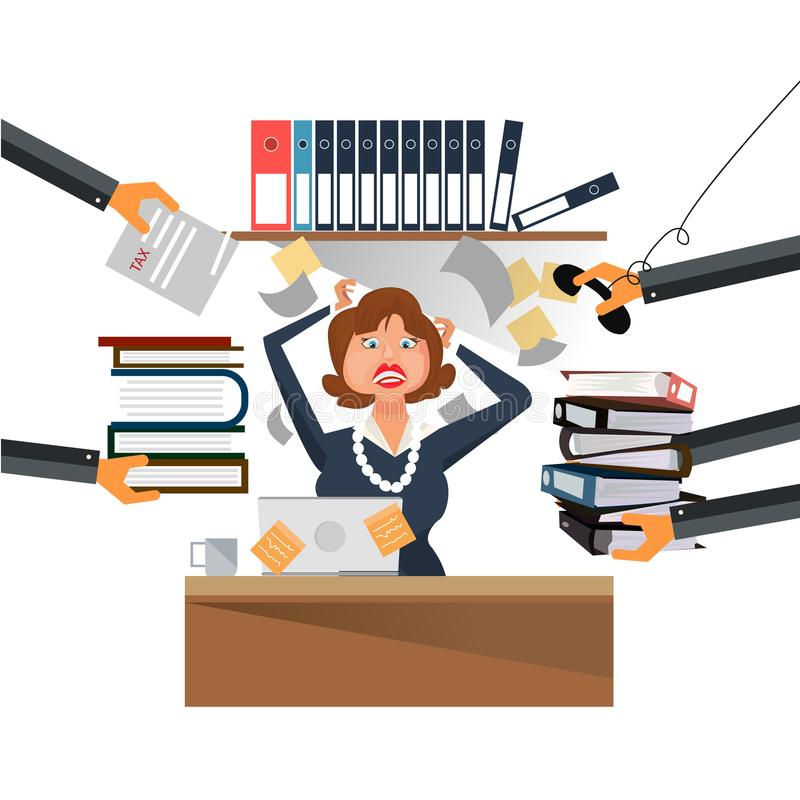 Very busy business woman working her desk in office with a lot of paper work. Illustrator vector illustration