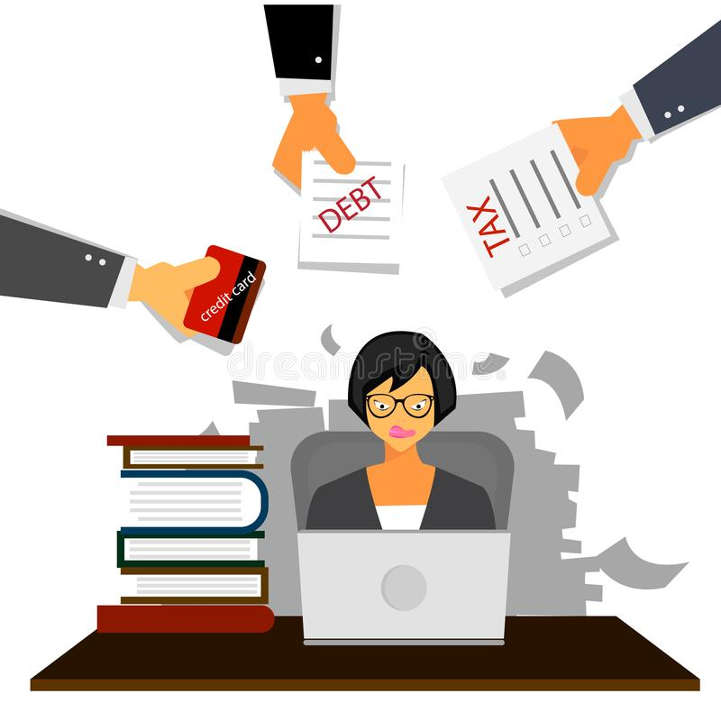Very busy business woman working her desk in office with a lot of paper work, tax,debt and credit card. Business concept o vector illustration