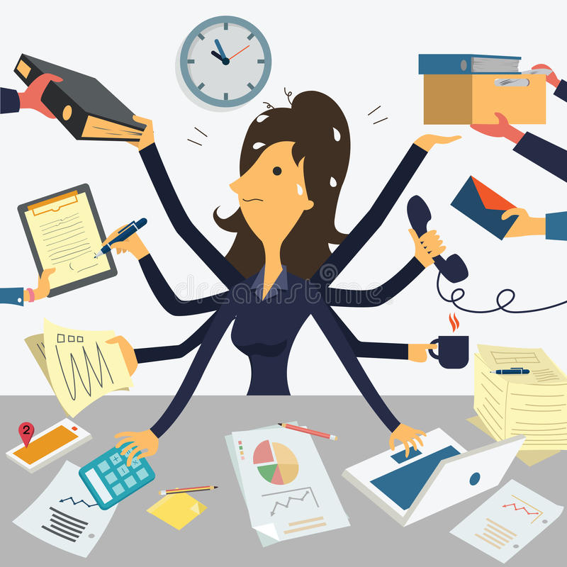 Very busy businesswoman royalty free illustration