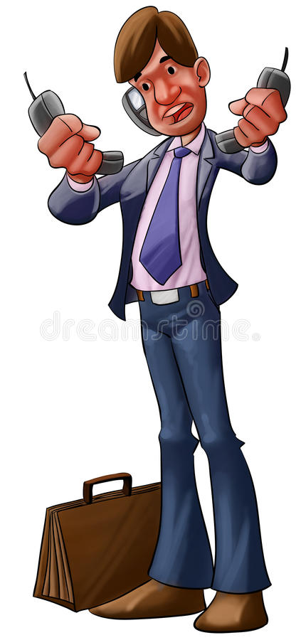 Download Very busy busynessman stock illustration. Image of collar - 18593354
