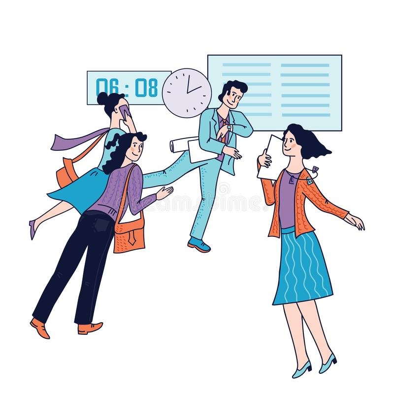 Very busy city businessmen and businesswomen, managers hurrying to work. vector illustration