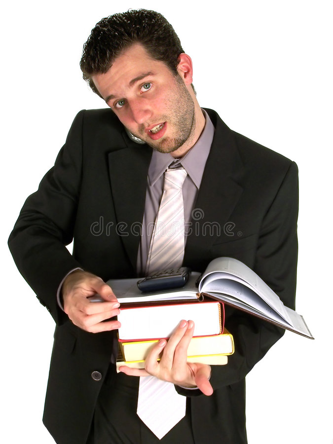 Very Busy - Holding Books and royalty free stock image