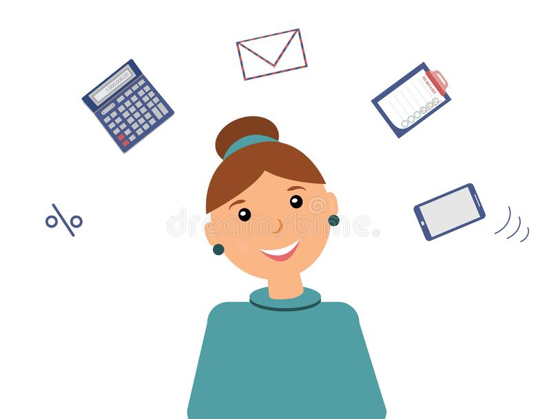 Very busy kind beautiful smiling woman accountant royalty free illustration