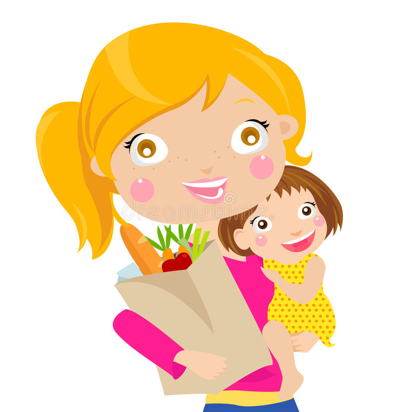 Very busy young woman with her little daughter royalty free illustration