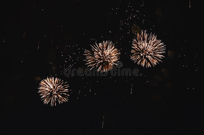 Very cheap firework over the city stock image