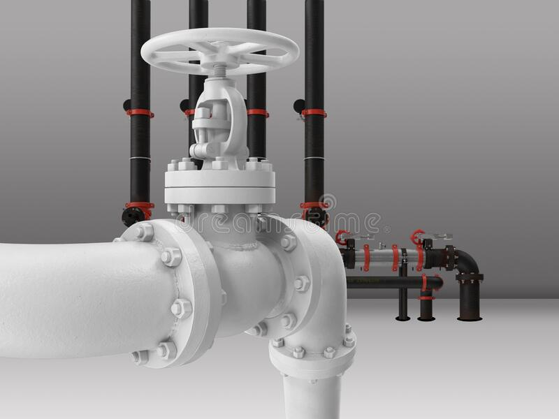 Industrial process piping stock photo