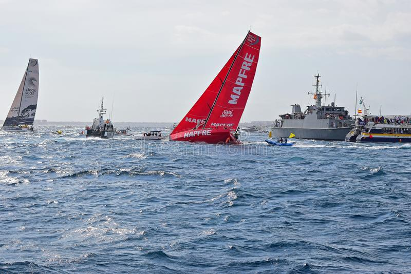 Mapfre Rudder Out Of Water Volvo Ocean Race Alicante 2017 stock image
