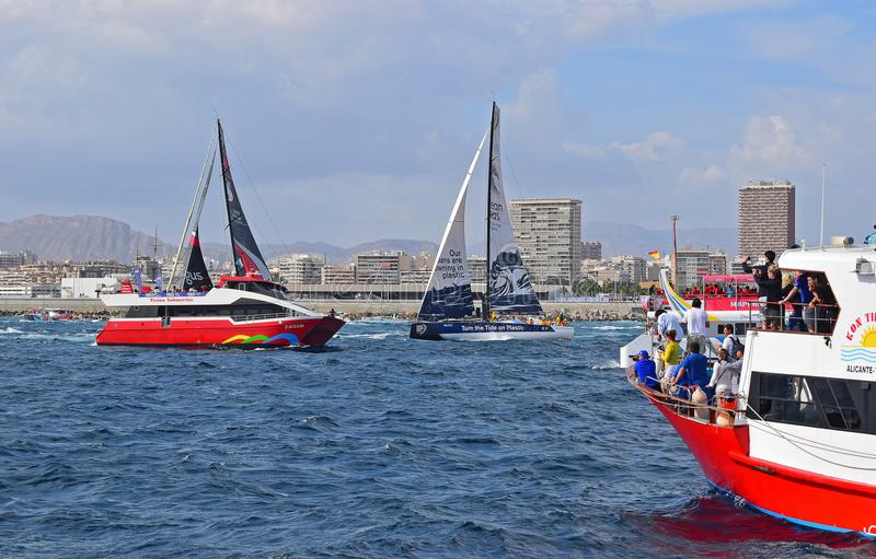 Very Close To The Spectator Boats Volvo Ocean Race Alicante 2017 stock photo