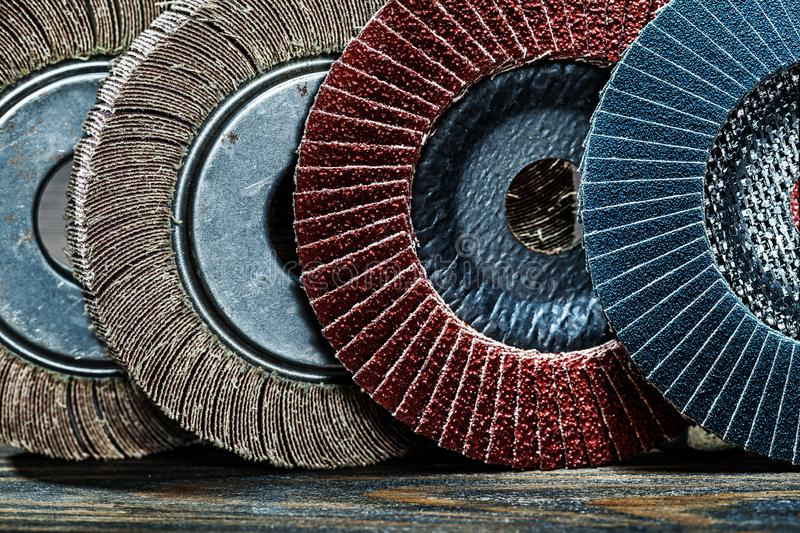 Very close up view abrasive polishing discs set stock photos